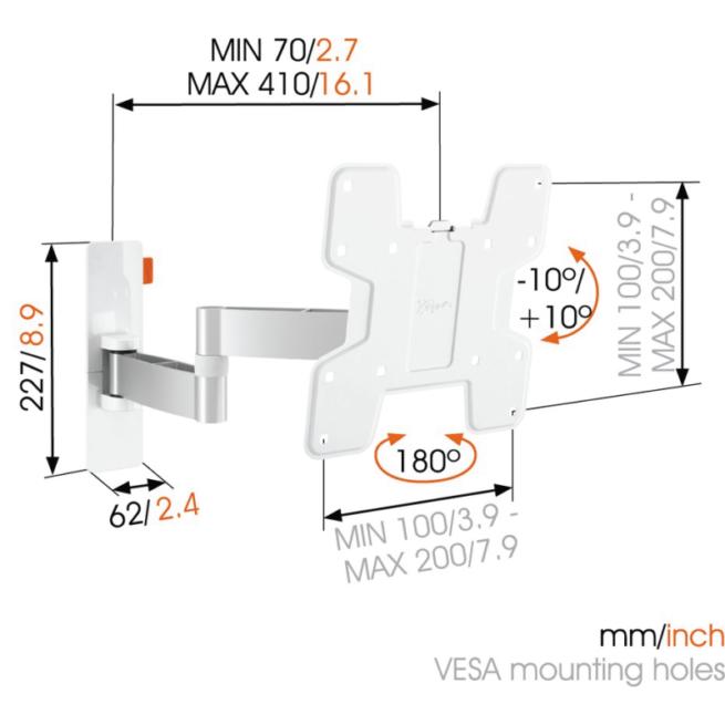 Vogels Wall 2145WHT VESA 200 Nivelletty tv teline-0