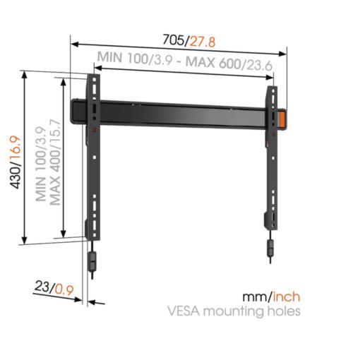 Vogels Wall 2305 VESA 400/600 Kiinteä TV teline-0