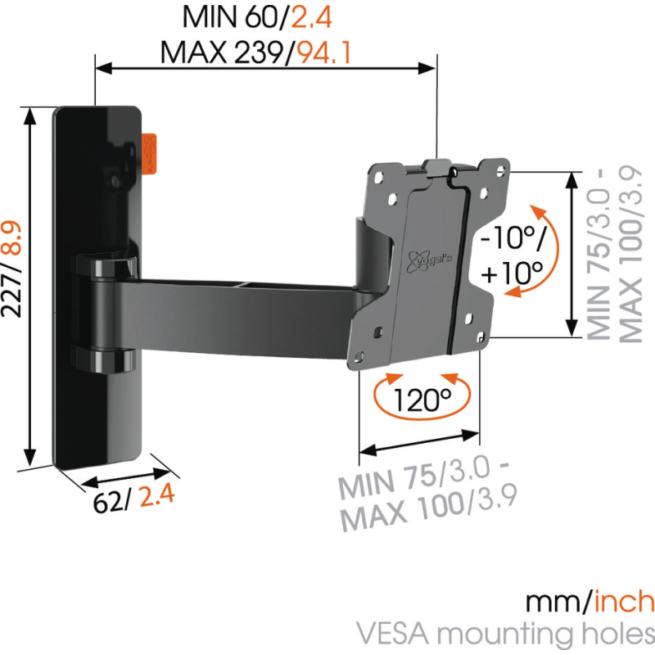 Vogels Wall 2025 VESA 100 Vapaasti liikkuva teline-0
