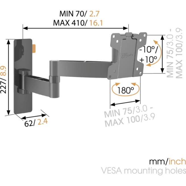 Vogels Wall 2045 VESA 100 Kääntyvä seinäteline-0