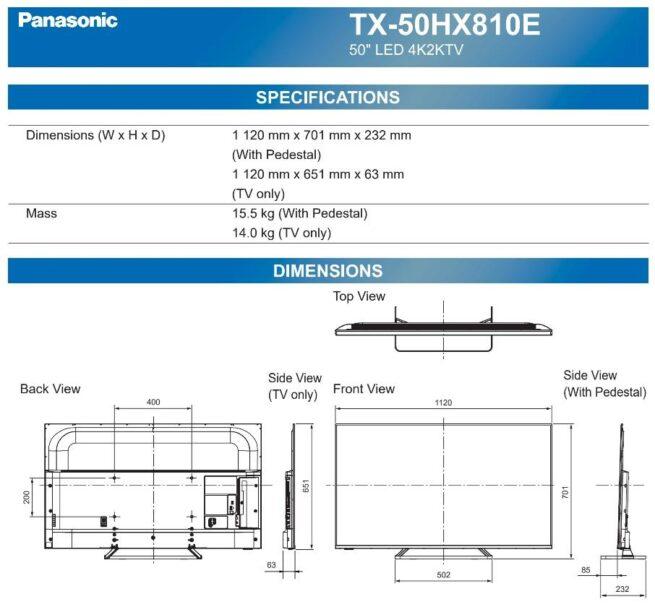 """PANASONIC TX-50HX810E 50"""" 4K LED TV-23625"""
